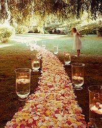 Rose petal path with floating candles