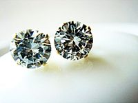 Clear Brilliant Cut Cubic Zircon and Sterling Silver Stamped 925 Stud Earrings