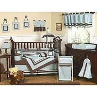 Brown and Blue 9-piece Crib Bedding Set