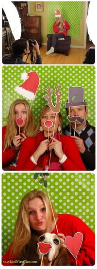super cute Christmas photo booth props to print!