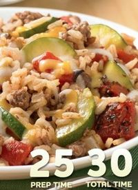 Zucchini-Beef-Rice Skillet... This one-dish meal is kid friendly and hearty. Perfect for filling up the family, the assorted veggies beef and cheese will leave them asking for more!