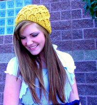 Sunflower Yellow Cabled Crocheted Beanie / Hat / Slouch hat / Pom Pom hat - READY to SHIP. $38.00, via Etsy.