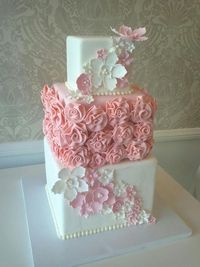 pink and white wedding cake; fondant and gumpaste flowers; square