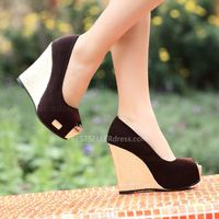 Fashion Sexy Wedge Platform Sky-High-heeled Shoes Brown