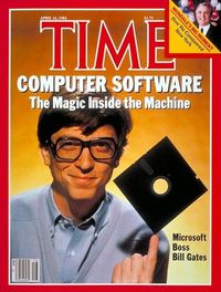 Bill Gates' first TIME cover, April 16th, 1984 - floppy discs, remember those?!