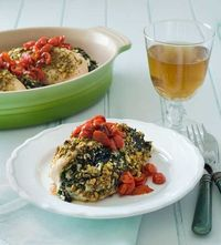 gluten-free-pistachio-crusted-greek-chicken topped with tomatoes