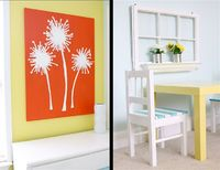 """large white dandelions on """"scarlet sun"""" painted canvas"""