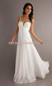 Two Shoulder White Long spaghetti strap Prom Dress 2013 with ruched bodice