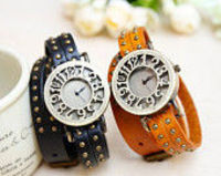 6 Colors,rivet double wrap leather wrist watch,wrist watch for boys and girls,hanmade watch bracelet,vintage wr