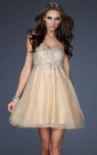 Sequin Top Strapless Sweetheart Gold La Femme 17123 Homecoming Dress