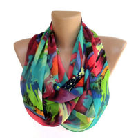 neon infinity scarf ,women scarves ,summer ,spring fashion accessories . girly , chiffon scarves . ALL TREND COLORS