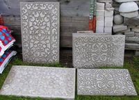 Rubber Door Mats pressed into a concrete mold and later removed, to make stepping stones. There are lots of other smart concrete project ideas on this page. - Click image to find more Gardening Pinterest pins