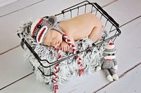Gray Sock Monkey Hat and Doll