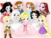 Top left: Melody, Amelia, Wendy, Sally bottom left: Helga, White Queen, Lottie. Nancy, Rapunzel