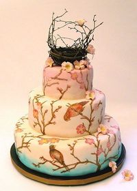 Beautiful hand painted Birds Nest Cake