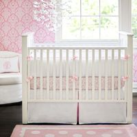 White Pique Baby Bedding with Pink Trim