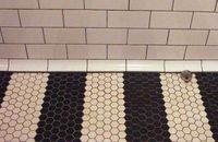 subway tile along with black and white hexagon tiles in a striped floor pattern.
