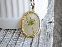 Naturalist Necklace Queen Annes Lace Real Pressed Flower Wildflower Botanical Jewelry Resin Pendant Garden Fashion Bridal Gift. $29.00, via Etsy.