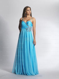 A-line Spaghetti Straps Chiffon Floor-length Blue Beading Prom Dresses