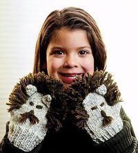Lion Mittens for Kids Free Knitting Pattern by Better Homes Gardens