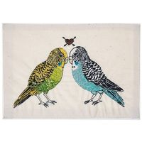 parakeet love embroidered stationery, coral & tusk