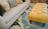 Amy Butler Coventry Rug, Yellow tufted ottoman.