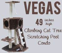 Vegas Climbing Cat Tree Scratching Post Condo - Kitty Mansions 'Vegas' Cat Climbing Tree is a four-story heaven for your cats. It features a large play area on the ground floor, a 2nd story balcony, 3rd story master suite, and roof access. It also...