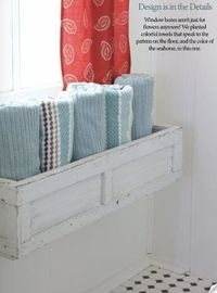 what a great idea ... planter boxes as extra storage in the bathroom ... bliss