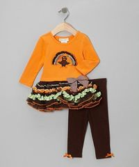 Take a look at this Orange Turkey Ruffle Tutu Dress & Leggings - Infant, Toddler & Girls by Gerson & Gerson on #zulily today!