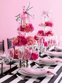 Wedding Color Scheme: Black, White and Pink