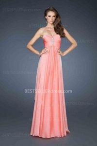 Open Back Coral Long Strapless Sweetheart Chiffon Prom Dresses