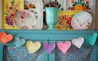 crochet heart banner with clothespins
