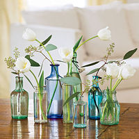 tulips bottles and babys breath