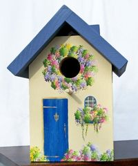 Blue & Cream Outdoor Birdhouse, by Cathie of Lynbrook, NY (BirdHousesByCathie on Etsy)
