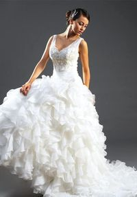 A-Line Floor Length Attached Organza/ Roma Satin Wedding Dress Style 8179