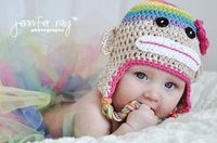 Sock Monkey Newborn Crochet Hat