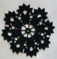 Gothic Black Crochet Doily in Thread by Acadian Crochet,
