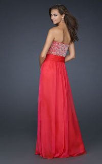 Cheap La Femme 17498 Red Floor Length Strapless Sparkly Prom Dress 2013