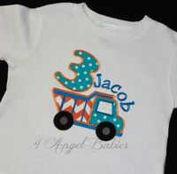 DUMP TRUCK Turquoise & Orange Chevron Boys Personalized Birthday Top