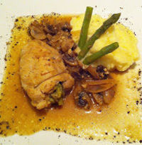 Chicken Thighs Stuffed with Asparagus and Lemon Shallot Sauce