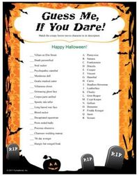 graphic regarding Printable Holloween Games called Wager Me, If On your own Dare! Halloween Recreation: video game creepy video clip ch