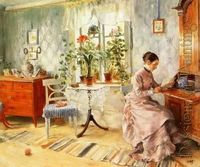 Carl Larsson: An interior with a woman reading
