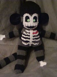Zombie Sock Monkey Plush Stuffed Toy Made by OutlawHeartCreations, $21.95