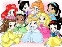 Chibi-Disney Princesses by ~rebenke  top left: Ariel, Mulan, Giselle, Jasmine  bottom left: Belle, Tiana, Cinderella, Aurora, Snow White