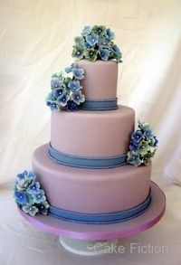 Cake Fiction: Violet and Blue Hydrangeas Wedding Cake