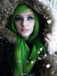 long green hair and snow :)