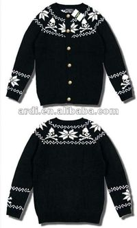 2012 newest style skull jacquard knitting man sweater