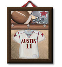 Locker Room Red Football Jersey Canvas Nursery Wall Art
