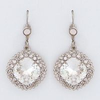Sorrelli Crystal Drop Earrings with Large Cushion Stone