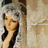 Vintage Wedding Veil Bridal Veil Cathedral Length Veil fingertip length Alencon Lace Trim Beaded. $180.00, via Etsy.
